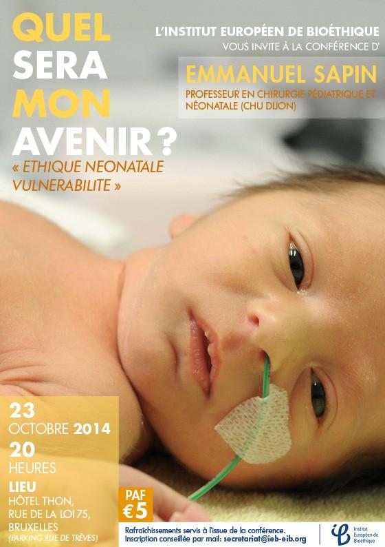 Conférence, IEB, Emmanuel Sapin, Docteur Sapin, éthique néonatale, pédiatrie, Bruxelles