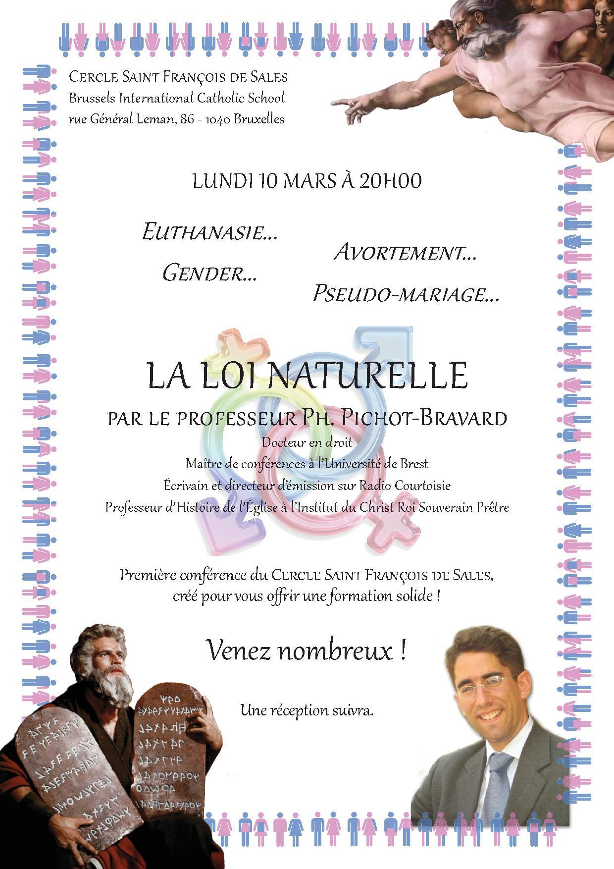 loi naturelle, Pichot, conférence, Bruxelles, Cercle Saint-François-de-Sales