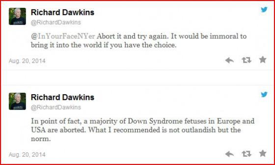 Richard Dawkins, enfant trisomique, trisomie, eugénisme, avortement, euthanasie, Aktion T4, dictature du relativisme