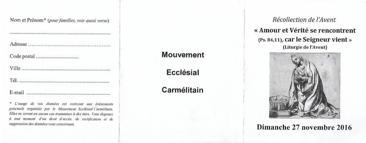 mouvement ecclésial carmélitain, Bruxelles