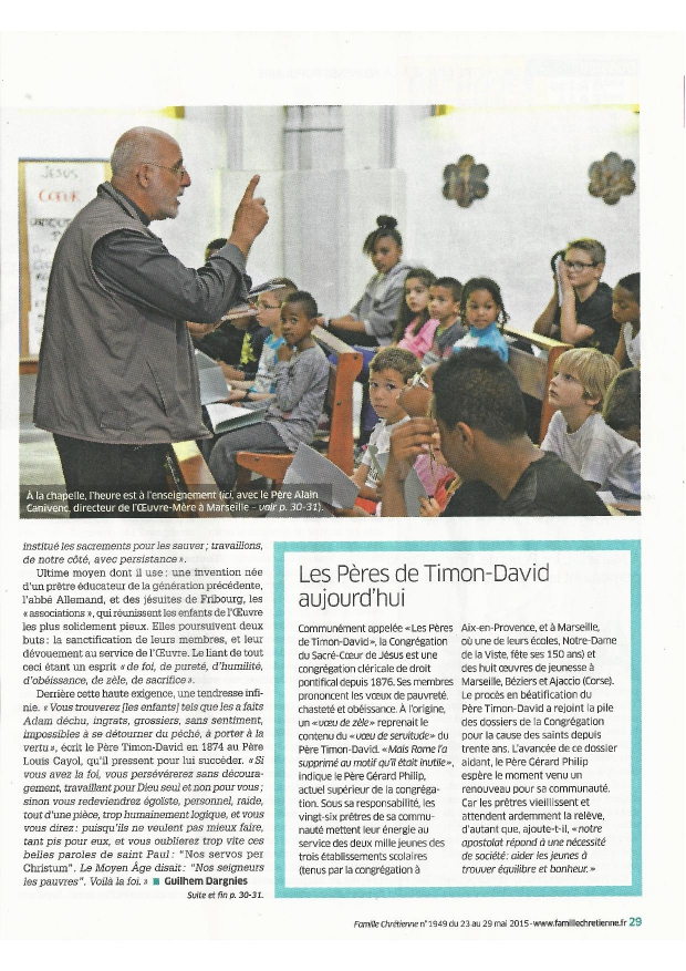 éducation, Père Timon-David, timoniens